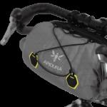 Apidura's bikepacking bag the Backcountry Handlebar Pack 20L Perspective On Bike