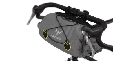 Apidura's bikepacking bag the Backcountry Handlebar Pack 20L Perspective On Bike