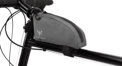 Apidura's bikepacking bag the Backcountry Top Tube Pack 1L Perspective On Bike