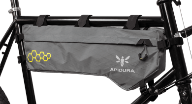 Apidura's bikepacking bag the Backcountry Frame Pack 6L Perspective On Bike
