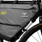 Apidura's bikepacking bag the Backcountry Full Frame Pack 14L Perspective On Bike