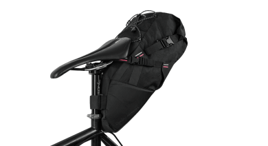 Apidura's bikepacking bag the Rapha + Apidura Saddle Pack Perspective On Bike