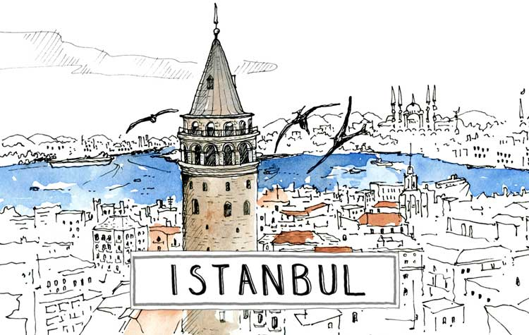 A paint of Istanbul cycle touring