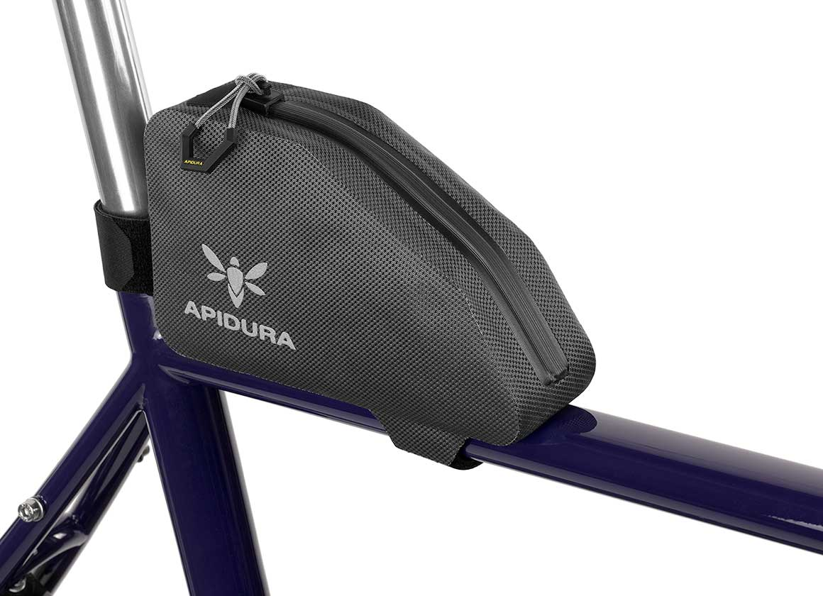 Apidura Waterproof Top Tube Bag, The Expedition Top Tube Pack 0.5L - Profile Picture Near the Seat Post