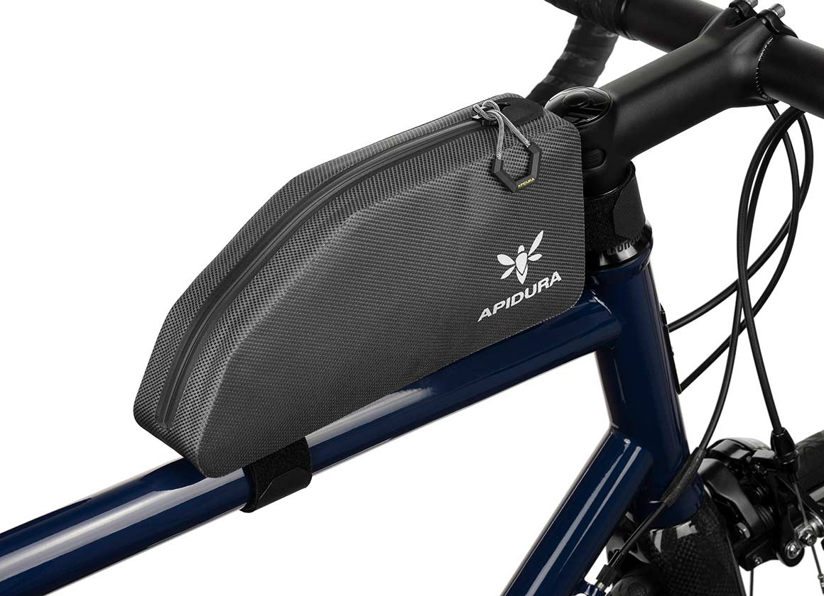 Apidura Waterproof Top Tube Bag, The Expedition Top Tube Pack 1L - Profile Picture On bike