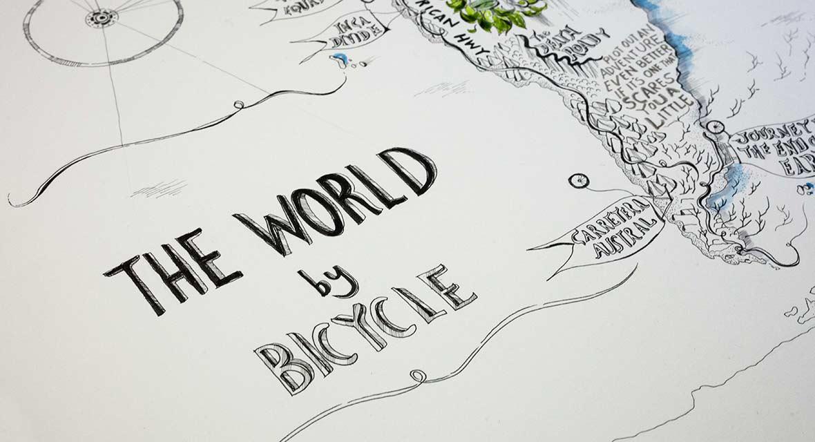 Alex Hotchin World by Bicycle Map Illustration