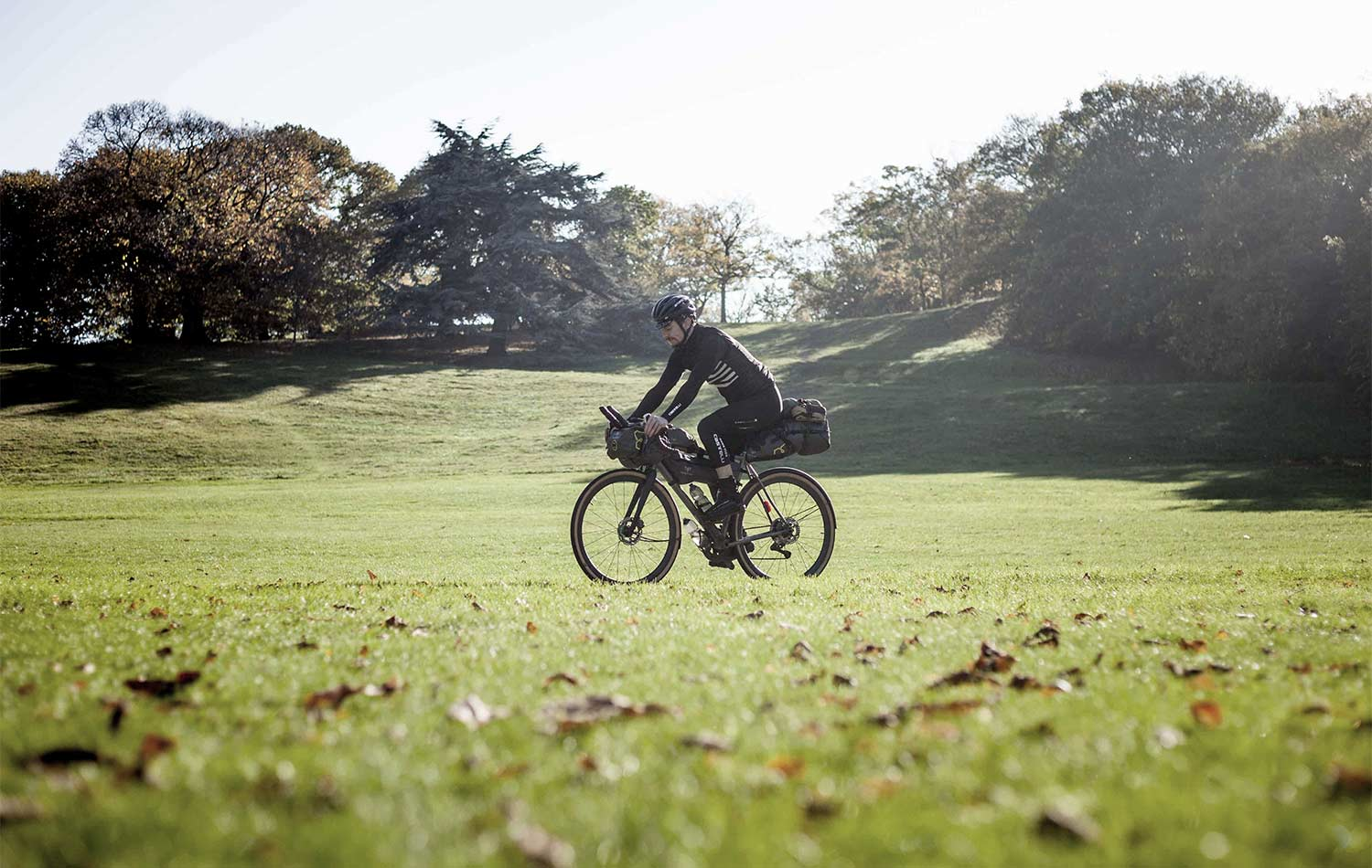 andrew mathias on his bike after his uk coast ride