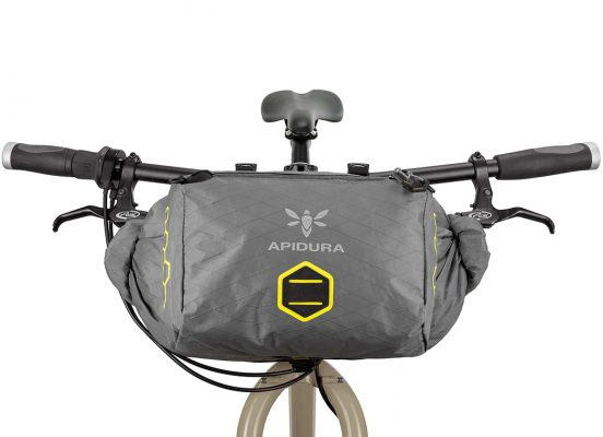 Close-up of the Backcountry accessory bag into a handlebar bag on the front bar of a bike