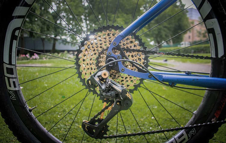 huge 50 tooth sprocket on rear cassette for tour divide bikepacking usa