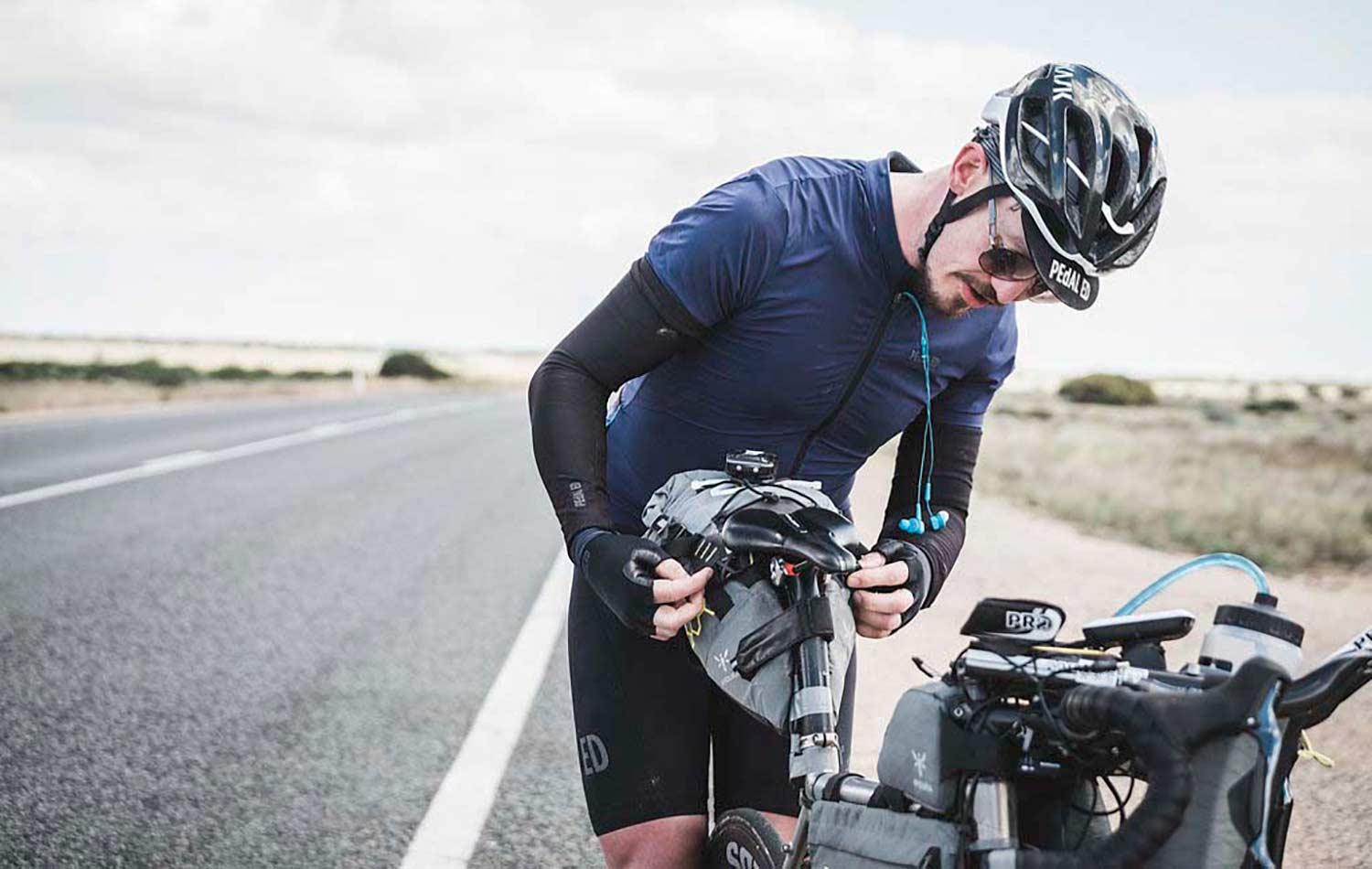 mike hall apidura packs on his bike