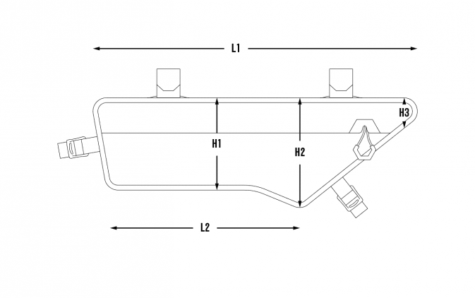 Dimensions of the Expedition Compact Frame Bag 3L