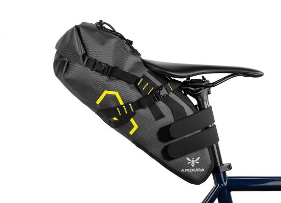 Close-up of the Apidura saddle bag medium size on the bike seat post