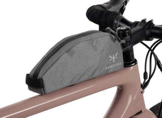 Large Backcountry Magnetic Top Tube Bag on the bike | Apidura