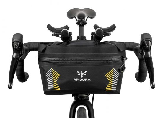 Close-up of the Racing Handlebar bag on the front bar of a bike
