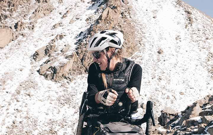 Jenny Tough and her bike. Bikepacking Kyrgyzstan   Apidura