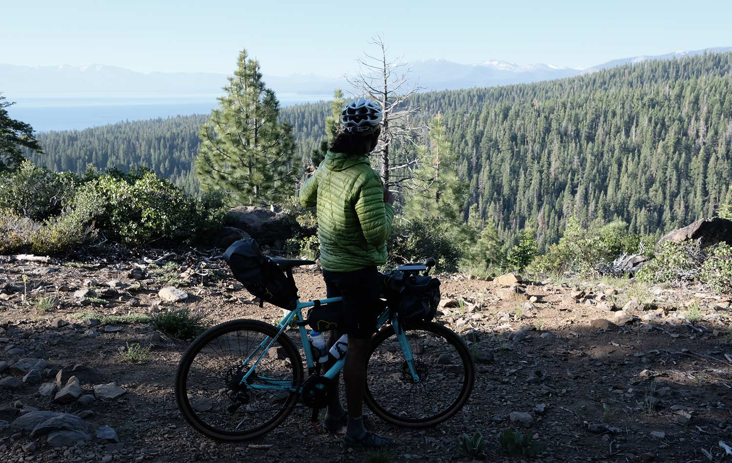 Naresh Kumar exploring local trails around Lake Tahoe, California. Bikepacking Adventures | Apidura