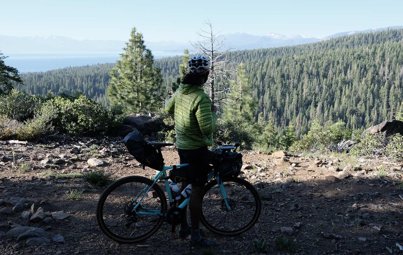 Naresh Kumar exploring local trails around Lake Tahoe, California. Bikepacking Adventures | Apidura