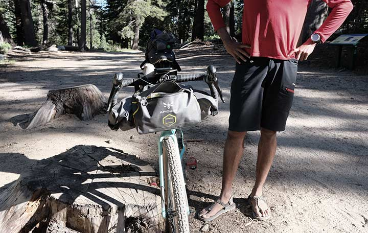 Naresh Kumar showing his bikepacking bags | Apidura