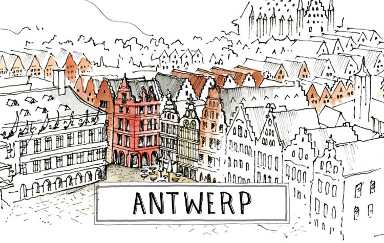 A paint of the center of Antwerp