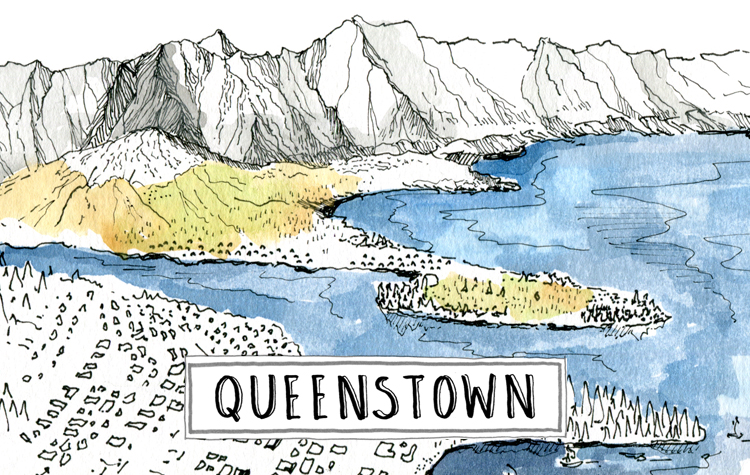 A paint of Queenstown cycle touring