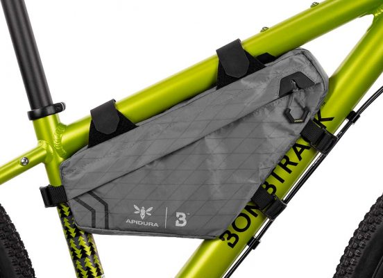 Close-up of the Bombtrack Frame bag on the frame of a kid bike