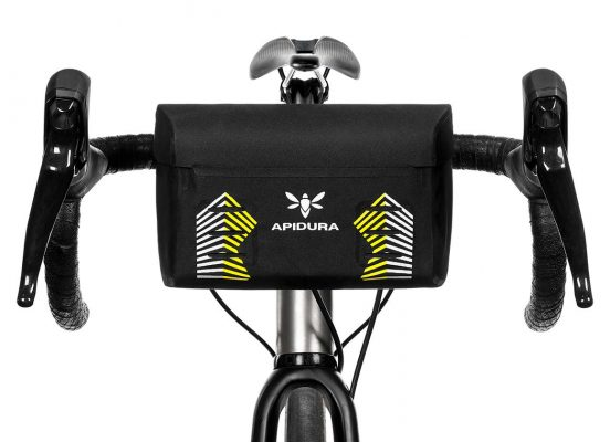 Close-up of the Racing Mini Handlebar bag on the front bar of a bike