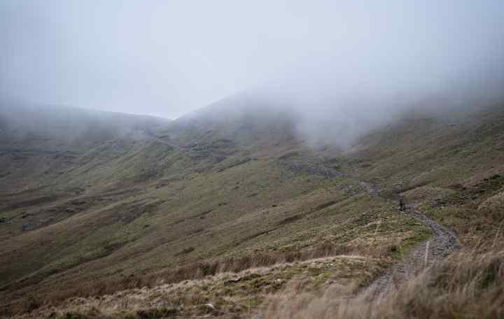 A foggy mountain landscape
