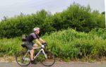 a man riding a bike down a forest