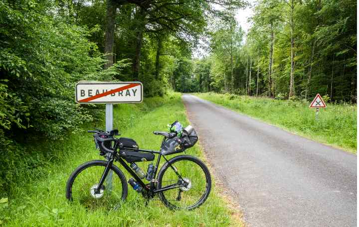 A bike covered in bikepacking bags leans against a signpost at the side of an empty road