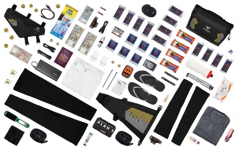 Georgina Panchauds kit for BikingMan Oman shown from above
