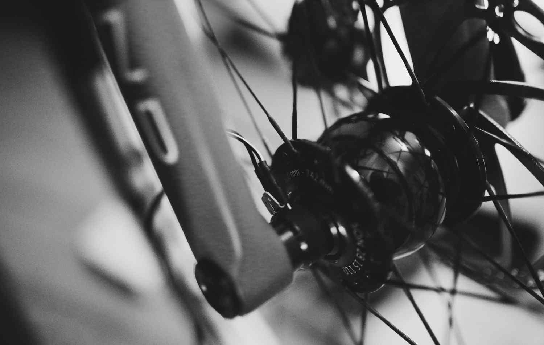 A dynamo hub on a bicycle