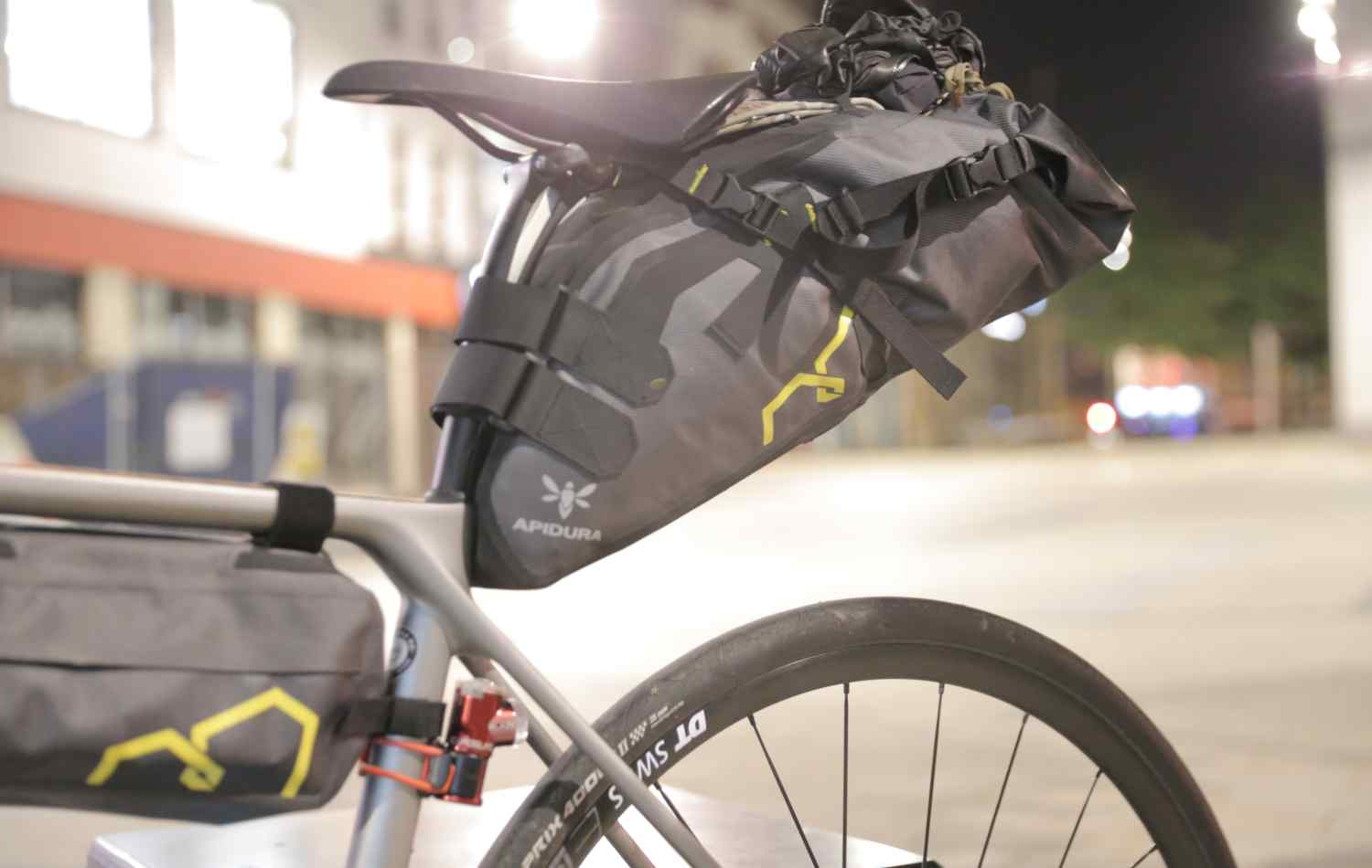 A seat pack strapped to a split seatpost, designed for comfort