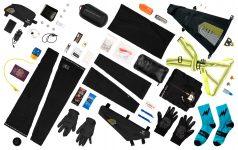 bikepacking race kit: Saddle bag, top tube bag and Frame bag with the elements for each bag