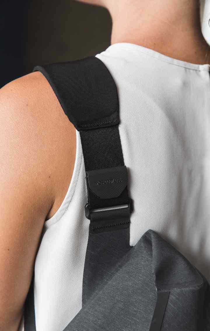 A closeup of the rear of the City Messenger shoulder strap