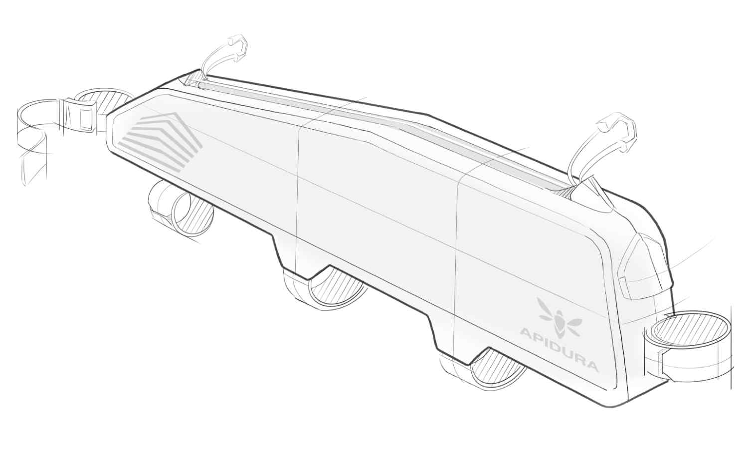 A design sketch of the Racing Long Top Tube Pack