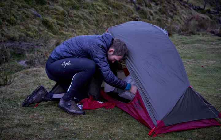 Marcus setting up camp