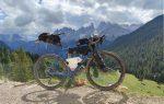 Chris' gravel bike fully loaded in the Dolomites