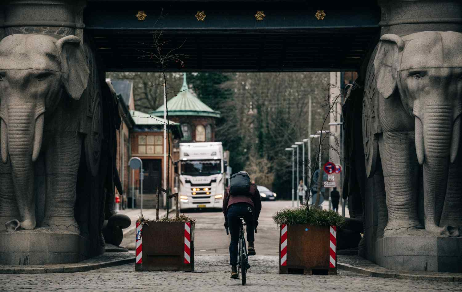 A cyclist rides through Copenhagen wearing the City Backpack