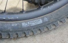 A closeup of a WTB MTB tyre with protective casing