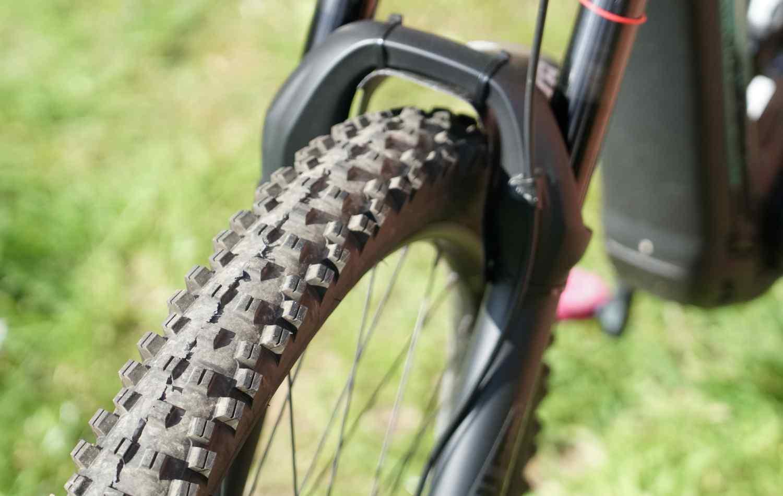 A WTB tyre with heavy tread