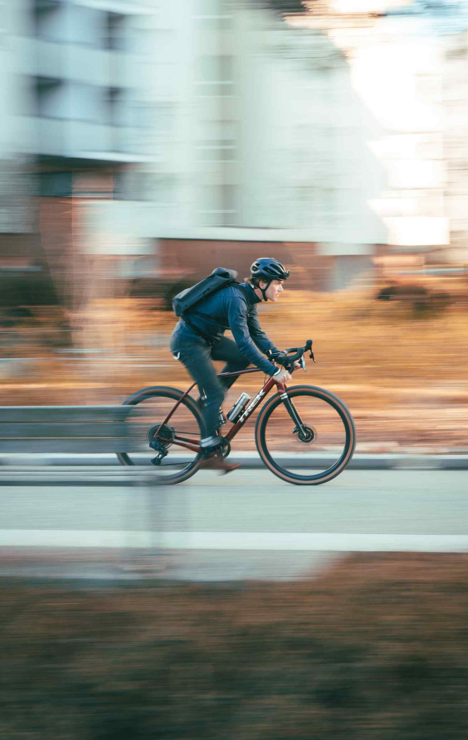 Seb Jarrot riding with the City Backpack