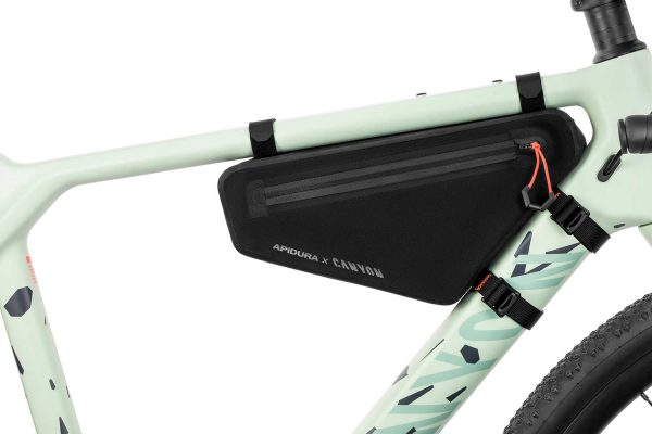 close-up of the frame pack into the Canyon frame bike
