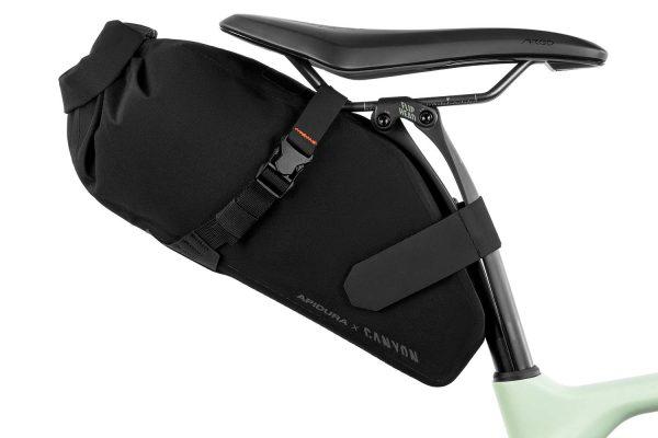 Apidura x Canyon Saddle bag in the saddle of a Canyon bike