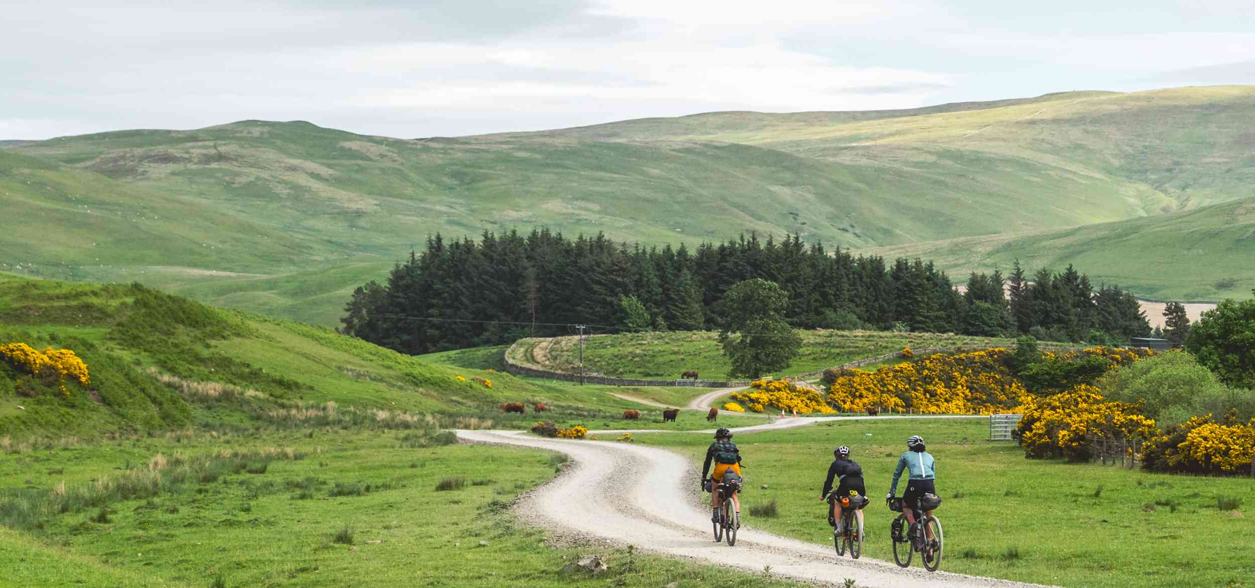 Alice and the Steezy Collective ride down gravel roads in the Pennines