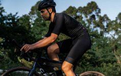 A close up view of Ibai riding the Pedalma race with Apidura Racing Series Packs on his bike