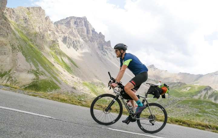 Apidura's Chris Herbert rides up the Galibier