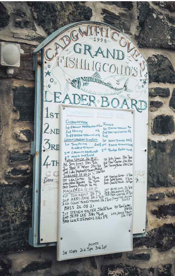 A seaside scoreboard showing results from a recent fishing competition